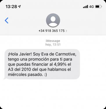 Ejemplo SMS personalizado enviado por Carmotive con Walcu CRM
