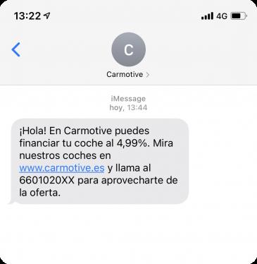 Ejemplo SMS no personalizado enviado por Carmotive sin Walcu CRM